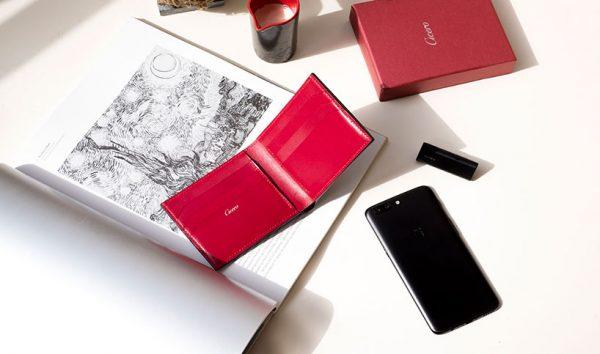Cicero Men's Leather Bifold Wallet Black/Red