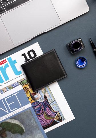Cicero Men's Leather Bifold Wallet Black/Blue
