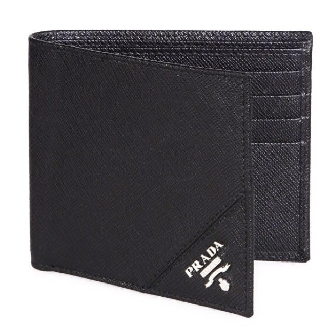 Prada men's bifold leather wallet