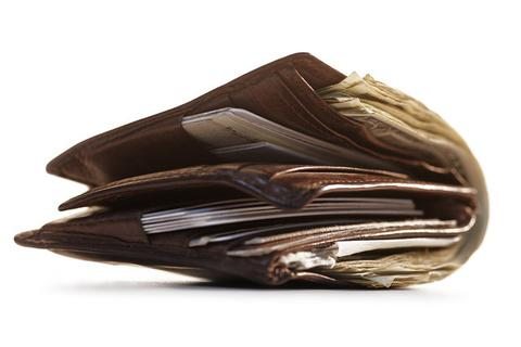 Take things out of your wallet like money, credit cards, ...