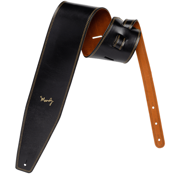 LEATHER BACKED GUITAR STRAP - BLACK:TOBACCO
