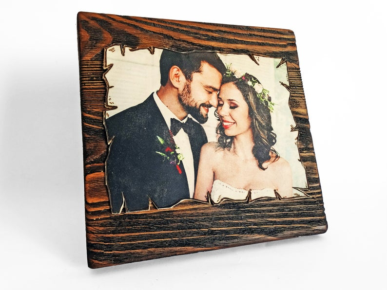 Engraved Leather Photograph Print