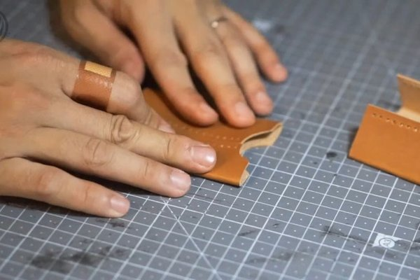 Folding the leather