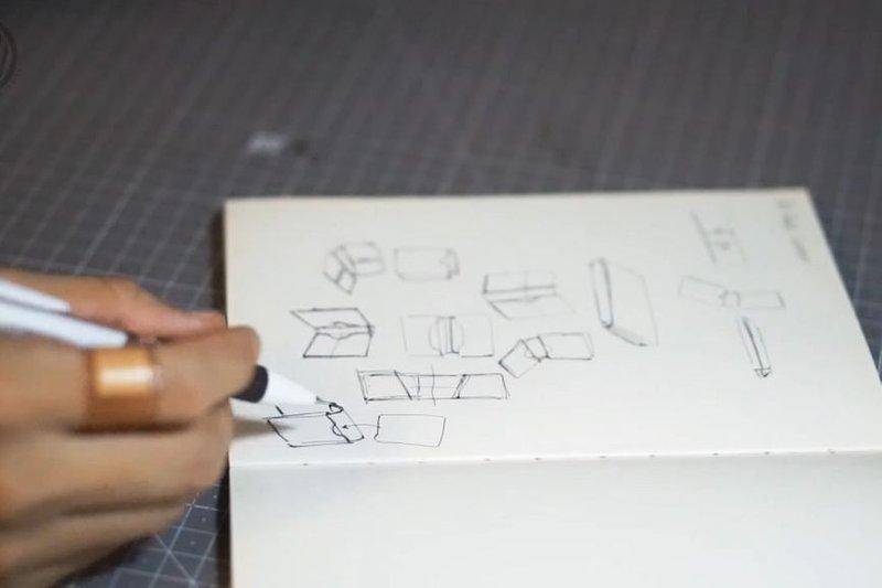 Design the wallet : Imagine final shape of wallet and sketch it.