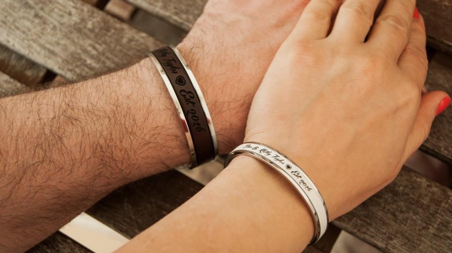 Leather couples bracelets