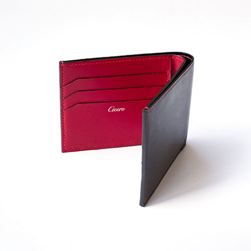 Cicero Men's Leather Bifold Wallet Black/Red