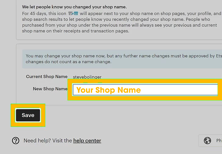 Enter your new shop name.
