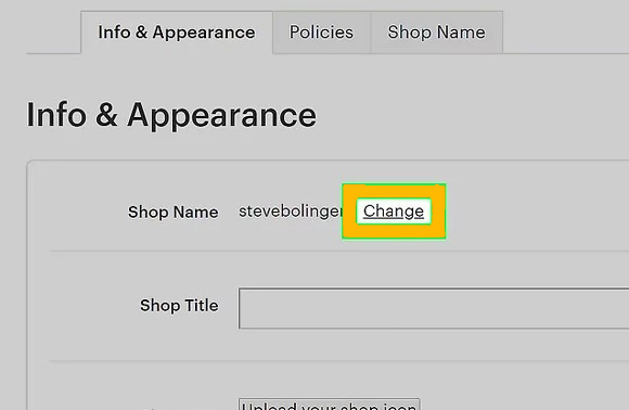 Click Change next to Shop name.