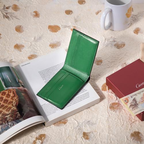 Mens Bifold Leather Wallets Black Green